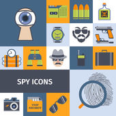 Spy gadgets flat icons composition poster — Stock Vector