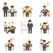 Stress at work icons set — Stock Vector