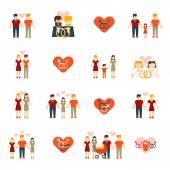 Non-traditional family icons set flat — Stock Vector