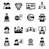 Business Meeting Icons Black — Stock Vector