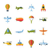 Aircraft icons set flat — Vector de stock