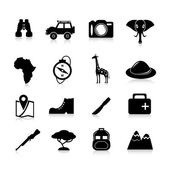 Safari Icons Black — Stock Vector