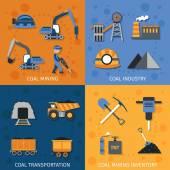 Coal Industry Set — Stock Vector