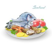 Seafood Plate Composition — Stock Vector