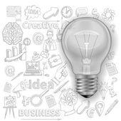 Kreativ bakgrund med glödlampa — Stockvektor