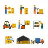 Warehouse Icon Flat — Stock Vector