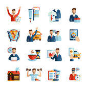 Man Daily Routine Icons — Stock Vector