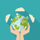 Human Hands Holding Globe — Stock Vector