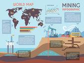Mining Infographics Set — Stock Vector