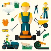 Man With Lawn Mower — Stock Vector