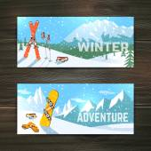Winter sport tourism banners set — Stock Vector