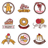 Sweet shop emblems labels set — Stock Vector