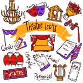 Theater Icons Set — Vetor de Stock