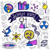 Science symbols icons doodle sketch — Stock Vector