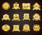 Golden sales labels icons collection — Stock Vector