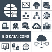 Big data icons black — Stock Vector