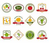 Fruit vegetables labels set color — Vettoriale Stock