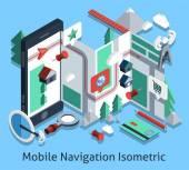 Mobile Navigation Isometric — Stock Vector