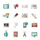 Media Icons Flat — Stock Vector