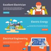 Electricity Banner Set — Stock Vector