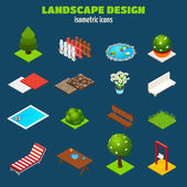 Landscape Design Isometric Icons — ストックベクタ