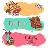 Fast food restaurant banners set — Stock Vector