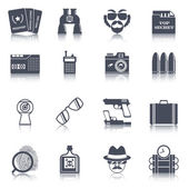 Spy gadgets black icons set — Stock Vector