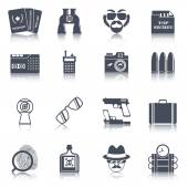 Spy gadgets black icons set — Stockvektor