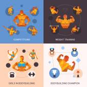 Bodybuilding Polygonal Set — Stock Vector