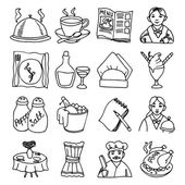 Restaurant dishes black outline icons set — Stock Vector