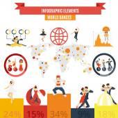 Word dances infographic elements poster — Stock Vector