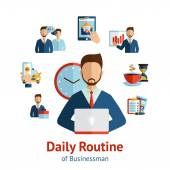 Businessman daily routine concept poster — Stock Vector