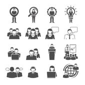 Business team demographic composition black icons — Stock Vector
