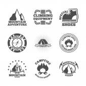 Mountine climber labels set — Stock Vector