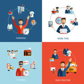Businessman daily routine concept flat icons — Stok Vektör