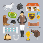 Jockey Icons Flat — Vettoriale Stock