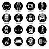 Wearable Technology Icons Black — Stock Vector
