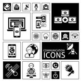 Communication Icons Black — Vettoriale Stock