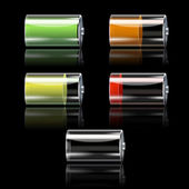 Battery Set With Different Charge Levels — Vector de stock