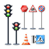 Traffic Sign And Lights Set — Stock Vector