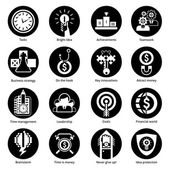 Business Concept Icons Black — Stock Vector