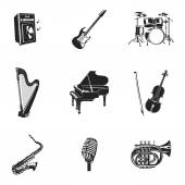 Musical Instruments And Equipment Set — Stock Vector