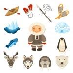 Chukchi Icons Set — Stock Vector #69395121