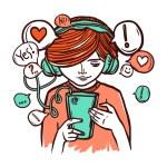 Young Girl In Headphones With Smartphone — Stock Vector #69395317