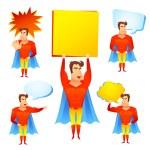 Superhero cartoon character with speech bubbles — Stock Vector #69395351