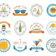 Summer vacation emblems stickers set flat — Cтоковый вектор #69395483