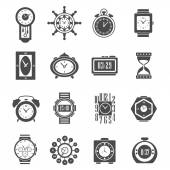 Clock Black Icons Set — Stock Vector