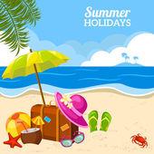 Summer seaside view on the beach poster — Stock vektor