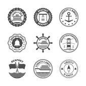 Морской порт ярлык набор — Cтоковый вектор