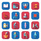 Senior Lifestyle Flat Icons — Stock Vector